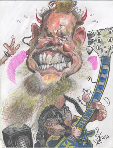 Cartoon: James Hetfield smile (medium) by RoyCaricaturas tagged james,hetfield,metallica,rock,roll,music,artist