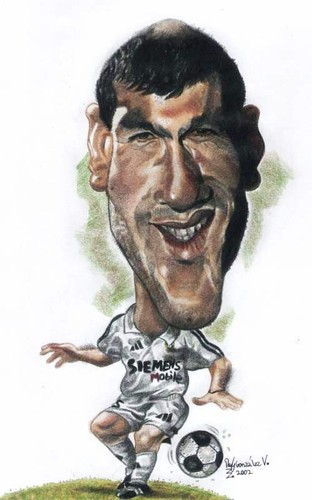 Cartoon: Legend Zidane (medium) by RoyCaricaturas tagged zidane,soccer,realmadrid,france,cartoon