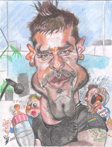 Cartoon: Ricky Martin and his childrens (medium) by RoyCaricaturas tagged ricky,martin,music,artist,pop