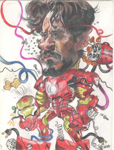 Cartoon: Robert Downey Jr is Ironman (medium) by RoyCaricaturas tagged ironman,downey,actors,hollywood