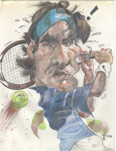Cartoon: Roger Federer (medium) by RoyCaricaturas tagged famous,sports,tennis,federer,roger
