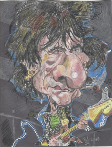 Cartoon: Ronnie Wood (medium) by RoyCaricaturas tagged ronnie,wood,rolling,stone,guitarist,bassist,music,rock,roll