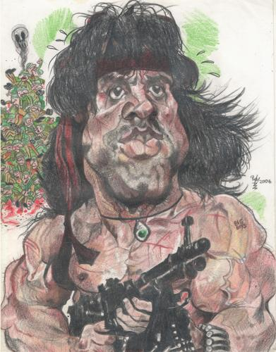 Cartoon: Sly Stallone as Rambo (medium) by RoyCaricaturas tagged sly,stallone,rambo,hollywood,famous,films