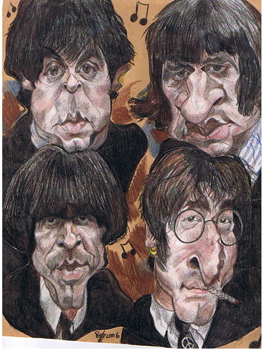 Cartoon: The Beatles (medium) by RoyCaricaturas tagged beatles,music,famosos