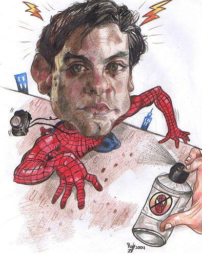 Cartoon: Tobey Maguire is Peter Parker. (medium) by RoyCaricaturas tagged spiderman,maguire,tobey,hollywood,actors