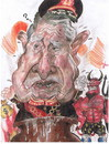 Cartoon: Augusto Pinochet and Lucifer (small) by RoyCaricaturas tagged pinochet,politicians,caricatura
