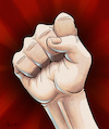 Cartoon: Raised fist (small) by Mikl tagged mikl michael olivier miklart art illustration painting fist fight raised