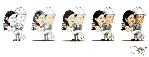 Cartoon: wedding caricature (medium) by juwecurfew tagged weddings
