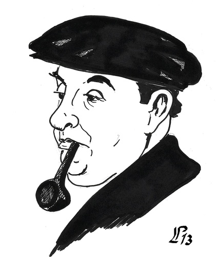 Cartoon: Pablo Neruda (medium) by paolo lombardi tagged cile