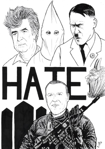 Cartoon: The face of hate (medium) by paolo lombardi tagged newzealand,terrorism,fascism,racism,hate
