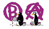 Cartoon: nextstep (small) by Mergel tagged anarchie,pinguin,graffiti,buchstabieren