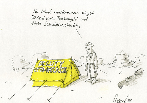 Cartoon: Occupy meinen Vorgarten (medium) by fussel tagged occupy,schulden,schuldenkrise,banken,finanzen,wall,street