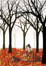 Cartoon: Achtung (small) by fussel tagged herbsteinbruch herbst autumn fall blätter wald laub hund gassi