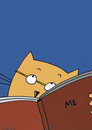 Cartoon: Even harder to understand (small) by fussel tagged cat,men,read,book,understanding,me,myself