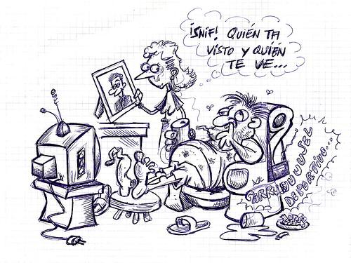 Cartoon: QUIEN TE HA VISTO (medium) by PEPE GONZALEZ tagged cartoon,spain,matrimonio