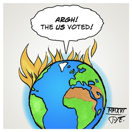 Cartoon: US have voted (medium) by Timo Essner tagged us,usa,elections,election,day,vote,donald,trump,drumpf,hillary,rodham,clinton,world,earth,on,fire,cartoon,timo,essner,us,usa,elections,election,day,vote,donald,trump,drumpf,hillary,rodham,clinton,world,earth,on,fire,cartoon,timo,essner