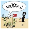 Cartoon: Sorry! (small) by Timo Essner tagged türkei,erdogan,kurden,pkk,syrien,is,nato,bombing,isil,terrorist,terrorism,islamic,state,kurds,enemies,wrong,friends,cavusoglu