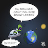 Cartoon: UFO Aliens Radio (small) by Timo Essner tagged alien,ufo,radio,erde,außerirdische,ausserirdische,radiowellen,universum,exoplaneten,war,of,the,worlds,pentagon,nasa,extraterrestische,lebensformen,cartoon,timo,essner