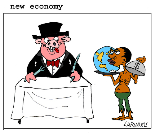Cartoon: New Economy (medium) by Carma tagged economy,society,rich,poor,politics,poorness,richness,bank,world,capitalism,hunger