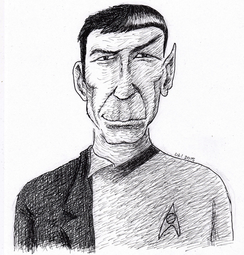 Cartoon: Leonard Nimoy (medium) by Uliwood tagged hommage,karikatur,portrait,schauspieler,actor,trek,star,enterprise,spock,mr
