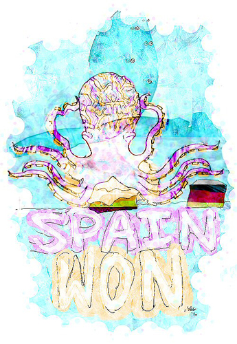Cartoon: psychic octopus (medium) by Radio-active Girl tagged football,psychic,octopus,spain,won