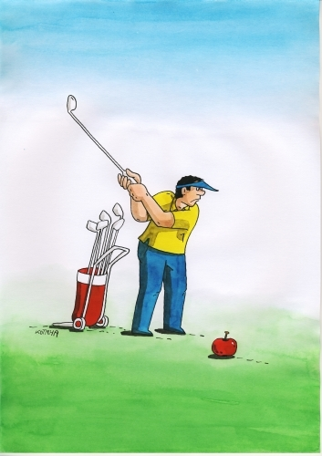 Cartoon: applegolf (medium) by kotrha tagged humor