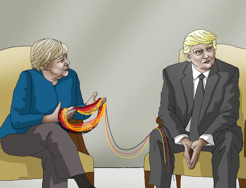 Cartoon: merkeltrump (medium) by kotrha tagged summit,g20,germany,hamburg,merkel,trump,world,dollar,euro,libra,peace,war