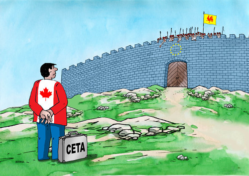Cartoon: neotvorime (medium) by kotrha tagged ceta,canada,europe,eu,usa,brusel,world