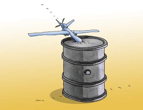 Cartoon: oildron (medium) by kotrha tagged oil,price,dron,barel,dollar,euro,war