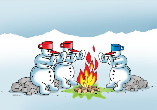 Cartoon: snehulohen (medium) by kotrha tagged earth,climate,changes,warming,melting,glaciers