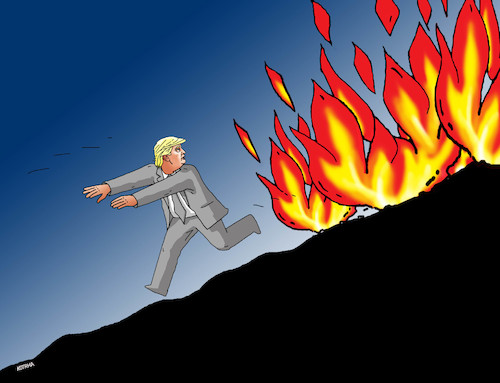 Cartoon: trumsprint (medium) by kotrha tagged usa,trump,protests