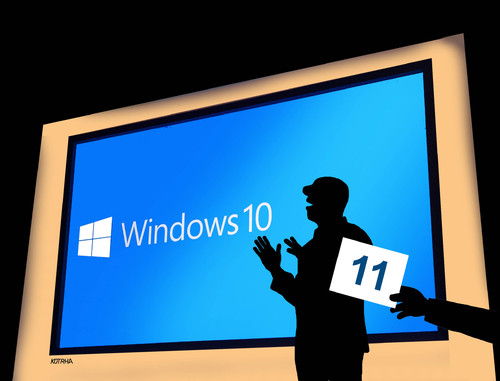 Cartoon: windows10 (medium) by kotrha tagged windows,apple,mac,operation,systems
