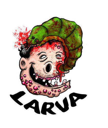 Cartoon: eat pig (medium) by maucho tagged pig,larvae,blood,animals,acne,muerte,cerebro,cena,draw