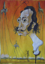 Cartoon: Salvador Dali (small) by SAPIENS tagged cartoon drawing colour