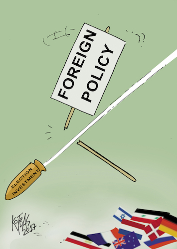 Cartoon: foreign policy (medium) by kotbas tagged error,hata,selection,investment,policy