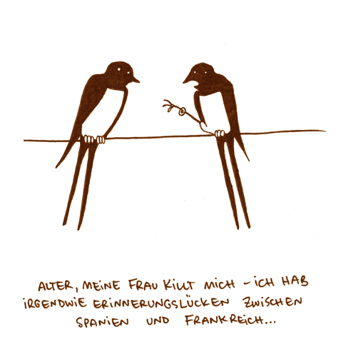 Cartoon: Erinnerungslücken (medium) by puvo tagged frühling,swallow,schwalbe,ehe,flight,flugroute,flug,rout,vogelzug,migrant,bird,zugvogel,spring,marriage,betrug,fraud,hochzeit,heiraten,marry,ring,ehering,beringung,umweltschutz,forschung,ornithologie,ornithologe,ornithology,ornithologist,science