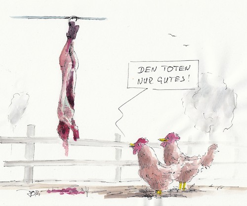 Cartoon: DEN TOTEN NUR GUTES (medium) by JORI tagged ostern,vergebung,osterhase,hühner,eier,joricartoon,joriniggemeyer