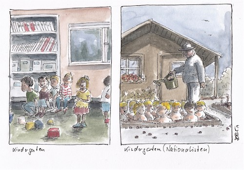 Cartoon: Kindergarten (medium) by JORI tagged kindergarten,erziehung,freiheit,rechtsradikalismus,nationalismus,beeinflussung,kinder