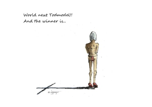 Cartoon: World next Todmodel (medium) by JORI tagged cartoon,joricartoon,niggemeyer,death,karikatur,health,much,too,thin,hunger,model