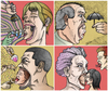 Cartoon: Screaming Heads (small) by javierhammad tagged surreal heads scream fame microphone desire love sex envy food ice cream protection sweet umbrella