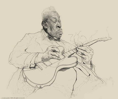 Cartoon: BB King (medium) by cosminpodar tagged cartoon,caricature,drawing