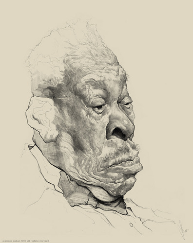 Cartoon: BB King WIP (medium) by cosminpodar tagged cartoon,caricature,drawing