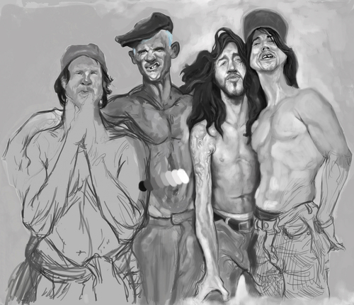 Cartoon: Red hot chili peppers project (medium) by cosminpodar tagged caricature,drawing,illustration,digital,painiting