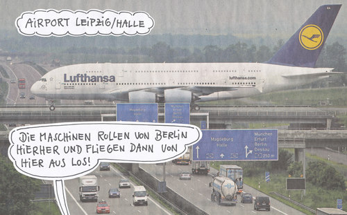 Cartoon: alternative (medium) by Andreas Prüstel tagged ber,großflughafen,berlin,brandenburg,airport,leipzig,halle,ber,großflughafen,berlin,brandenburg,airport,leipzig,halle