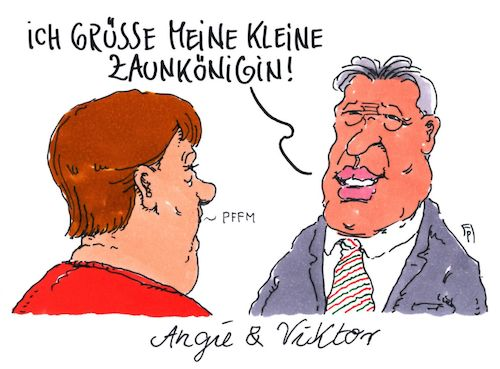 Cartoon: angie und viktor (medium) by Andreas Prüstel tagged treffen,angela,merkel,viktor,orban,ungarn,flüchtlingspolitik,zaunkönigin,cartoon,karikatur,andreas,pruestel,treffen,angela,merkel,viktor,orban,ungarn,flüchtlingspolitik,zaunkönigin,cartoon,karikatur,andreas,pruestel