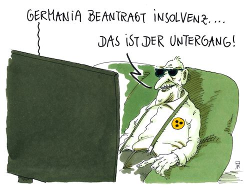 Cartoon: germania (medium) by Andreas Prüstel tagged fluggesellschaft,germania,der,untergang,film,drittes,reich,cartoon,karikatur,andreas,pruestel,fluggesellschaft,germania,der,untergang,film,drittes,reich,cartoon,karikatur,andreas,pruestel