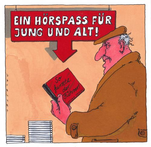 Cartoon: hörspass (medium) by Andreas Prüstel tagged hörbücher,hitler