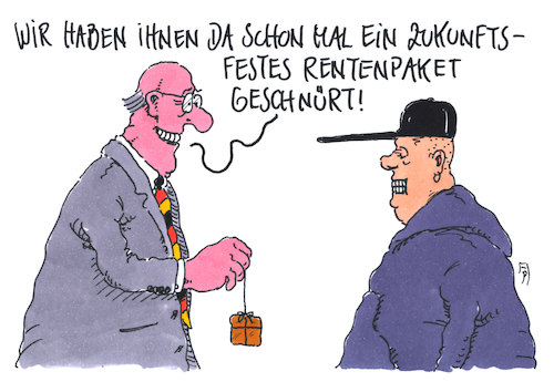 Cartoon: rentenzukunft (medium) by Andreas Prüstel tagged rente,bunderegierung,rentenpaket,junge,generation,cartoon,karikatur,andreas,pruestel,rente,bunderegierung,rentenpaket,junge,generation,cartoon,karikatur,andreas,pruestel