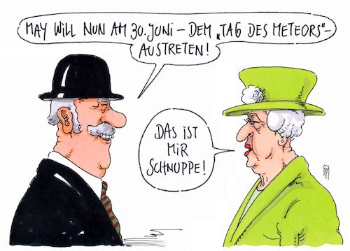 Cartoon: schnuppe (medium) by Andreas Prüstel tagged brexit,austrittsverschiebung,theresa,may,tag,des,meteors,sternschnuppe,queen,cartoon,karikatur,andreas,pruestel,brexit,austrittsverschiebung,theresa,may,tag,des,meteors,sternschnuppe,queen,cartoon,karikatur,andreas,pruestel