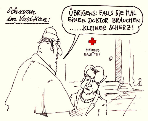 Cartoon: vatikan schavan (medium) by Andreas Prüstel tagged annette,schavan,exbundesbildungsministerin,botschafterin,vatikan,papst,doktortitel,plagiatsaffäre,doktor,medicus,balotelli,scherz,cartoon,karikatur,andreas,pruestel,annette,schavan,exbundesbildungsministerin,botschafterin,vatikan,papst,doktortitel,plagiatsaffäre,doktor,medicus,balotelli,scherz,cartoon,karikatur,andreas,pruestel